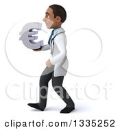 Clipart Of A 3d Young Black Male Doctor Holding A Euro Symbol And Walking To The Left Royalty Free Illustration