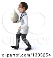 Clipart Of A 3d Young Black Male Nutritionist Doctor Holding A Lotion Soap Or Milk Drop And Walking To The Left Royalty Free Illustration