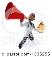 Clipart Of A 3d Young Black Male Naturopathic Doctor Holding An Amber Medicine Or Tincture Drop And Announcing Upwards With A Megaphone Royalty Free Vector Illustration