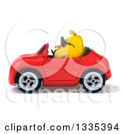 Poster, Art Print Of 3d Chubby Yellow Bird Chicken Wearing Sunglasses And Driving A Red Convertible Car 2