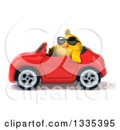 Poster, Art Print Of 3d Chubby Yellow Bird Chicken Wearing Sunglasses And Driving A Red Convertible Car 3