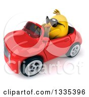 Poster, Art Print Of 3d Chubby Yellow Bird Chicken Wearing Sunglasses And Driving A Red Convertible Car 4