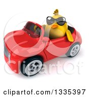 Clipart Of A 3d Chubby Yellow Bird Chicken Wearing Sunglasses And Driving A Red Convertible Car 5 Royalty Free Vector Illustration