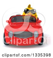 Clipart Of A 3d Chubby Yellow Bird Chicken Wearing Sunglasses And Driving A Red Convertible Car Royalty Free Vector Illustration