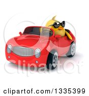 Clipart Of A 3d Chubby Yellow Bird Chicken Wearing Sunglasses And Driving A Red Convertible Car 6 Royalty Free Vector Illustration