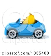 Clipart Of A 3d Chubby Yellow Bird Chicken Driving A Blue Convertible Car Royalty Free Vector Illustration
