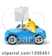 Clipart Of A 3d Chubby Yellow Bird Chicken Holding A Blank Sign And Driving A Blue Convertible Car Royalty Free Vector Illustration