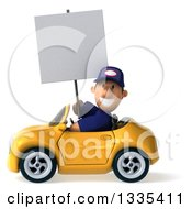 Clipart Of A 3d Short White Male Auto Mechanic Holding A Blank Sign And Driving A Yellow Convertible Car Royalty Free Vector Illustration