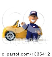 Clipart Of A 3d Short White Male Auto Mechanic Holding A Wrench And Waving By A Yellow Convertible Car Royalty Free Vector Illustration