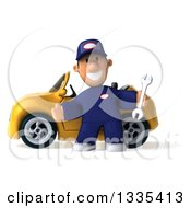 Clipart Of A 3d Short White Male Auto Mechanic Holding A Wrench And Welcoming By A Yellow Convertible Car Royalty Free Vector Illustration
