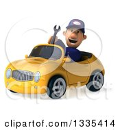 Clipart Of A 3d Short White Male Auto Mechanic Holding A Wrench And Driving A Yellow Convertible Car Royalty Free Vector Illustration