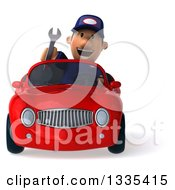 Clipart Of A 3d Short White Male Auto Mechanic Holding A Wrench And Driving A Red Convertible Car Royalty Free Vector Illustration