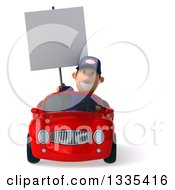 Clipart Of A 3d Short White Male Auto Mechanic Holding A Blank Sign And Driving A Red Convertible Car Royalty Free Vector Illustration