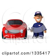 Clipart Of A 3d Short White Male Auto Mechanic Holding A Wrench By A Red Convertible Car Royalty Free Vector Illustration
