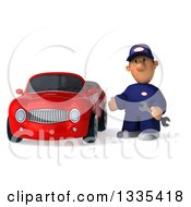 Clipart Of A 3d Sad Short White Male Auto Mechanic Holding A Wrench And Presenting A Red Convertible Car Royalty Free Vector Illustration