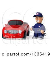 Clipart Of A 3d Short White Male Auto Mechanic Holding A Wrench And Presenting A Red Convertible Car Royalty Free Vector Illustration