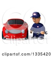 Clipart Of A 3d Sad Short White Male Auto Mechanic Holding A Wrench By A Red Convertible Car Royalty Free Vector Illustration