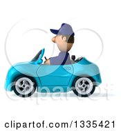 Clipart Of A 3d Short White Male Auto Mechanic Driving A Blue Convertible Car Royalty Free Vector Illustration