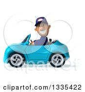 Clipart Of A 3d Short White Male Auto Mechanic Driving A Blue Convertible Car 2 Royalty Free Vector Illustration