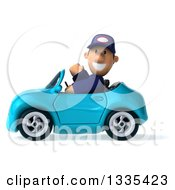 Clipart Of A 3d Short White Male Auto Mechanic Waving And Driving A Blue Convertible Car Royalty Free Vector Illustration
