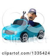 Clipart Of A 3d Short White Male Auto Mechanic Holding A Wrench And Driving A Blue Convertible Car Royalty Free Vector Illustration