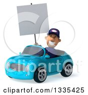 Clipart Of A 3d Short White Male Auto Mechanic Holding A Blank Sign And Driving A Blue Convertible Car Royalty Free Vector Illustration