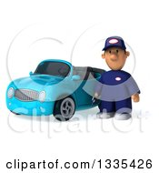 Clipart Of A 3d Sad Short White Male Auto Mechanic Holding A Wrench By A Blue Convertible Car Royalty Free Vector Illustration