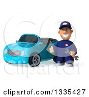 Clipart Of A 3d Short White Male Auto Mechanic Holding A Wrench And Presenting A Blue Convertible Car Royalty Free Vector Illustration