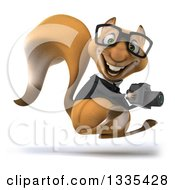 Clipart Of A 3d Bespectacled Business Squirrel Facing Right Hopping And Holding A Camera Royalty Free Vector Illustration