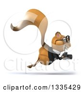 Clipart Of A 3d Bespectacled Business Squirrel Hopping To The Right And Holding A Camera Royalty Free Vector Illustration