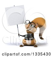 Clipart Of A 3d Bespectacled Business Squirrel Holding A Camera And A Blank Sign Royalty Free Vector Illustration