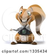 Clipart Of A 3d Business Squirrel Presenting And Holding A Camera Royalty Free Vector Illustration