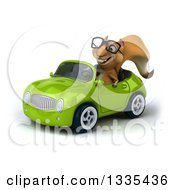 Clipart Of A 3d Bespectacled Squirrel Driving A Green Convertible Car Royalty Free Vector Illustration