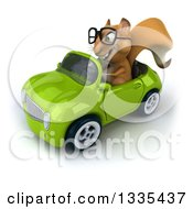 Clipart Of A 3d Bespectacled Squirrel Driving A Green Convertible Car 2 Royalty Free Vector Illustration