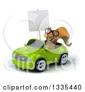 Clipart Of A 3d Bespectacled Squirrel Holding A Blank Sign And Driving A Green Convertible Car Royalty Free Vector Illustration