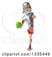 Clipart Of A 3d Full Length Young Male Roman Legionary Soldier Holding A Green Apple And Looking Around A Sign Royalty Free Illustration