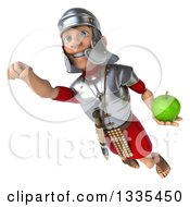 Clipart Of A 3d Young Male Roman Legionary Soldier Holding A Green Apple And Flying Royalty Free Illustration
