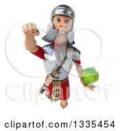 Clipart Of A 3d Young Male Roman Legionary Soldier Holding A Green Bell Pepper And Flying Royalty Free Illustration