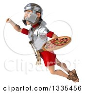Clipart Of A 3d Young Male Roman Legionary Soldier Holding A Pizza And Flying Up To The Left Royalty Free Illustration