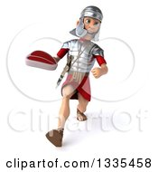 Clipart Of A 3d Young Male Roman Legionary Soldier Speed Walking And Holding A Beef Steak Royalty Free Illustration