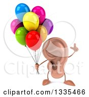 Clipart Of A 3d Ear Character Holding Up A Finger And Party Balloons Royalty Free Illustration