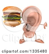 Clipart Of A 3d Ear Character Giving A Thumb Down And Holding A Double Cheeseburger Royalty Free Illustration