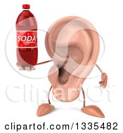 Clipart Of A 3d Ear Character Holding A Soda Bottle Royalty Free Illustration