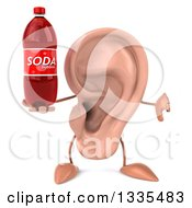 Clipart Of A 3d Ear Character Giving A Thumb Down And Holding A Soda Bottle Royalty Free Illustration
