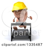 Clipart Of A 3d Ear Contractor Character Running On A Treadmill Royalty Free Illustration