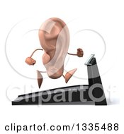 Clipart Of A 3d Ear Character Facing Right And Running On A Treadmill Royalty Free Illustration by Julos