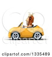 Clipart Of A 3d Male Lion King Driving A Yellow Convertible Car Royalty Free Vector Illustration by Julos
