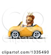 Clipart Of A 3d Male Lion King Driving A Yellow Convertible Car 2 Royalty Free Vector Illustration by Julos