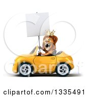 Clipart Of A 3d Male Lion King Holding A Blank Sign And Driving A Yellow Convertible Car Royalty Free Vector Illustration by Julos