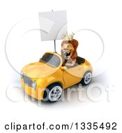 Clipart Of A 3d Male Lion King Holding A Blank Sign And Driving A Yellow Convertible Car 2 Royalty Free Vector Illustration by Julos